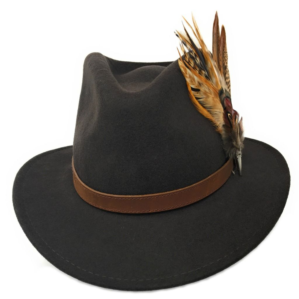 3b9faaa505a8c Naunton Women s Wool Brown Fedora Hat with Leather Belt Trim and Country  Feather Brooch